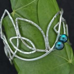 Leaf vine cuff w- Pearls