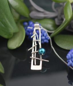 blue pearl twig pendant